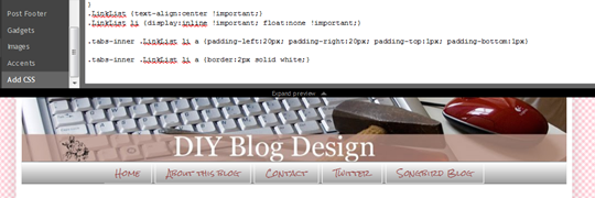 Changing linklist tabs css style sheet