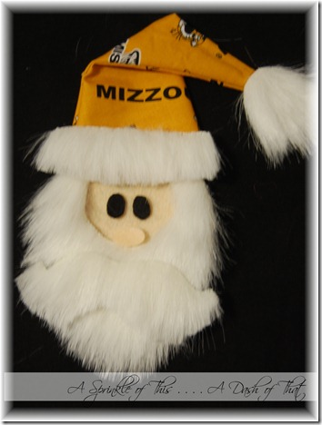 santa shirt applique with mizzou hat {A Sprinkle of This . . . . A Dash of That}