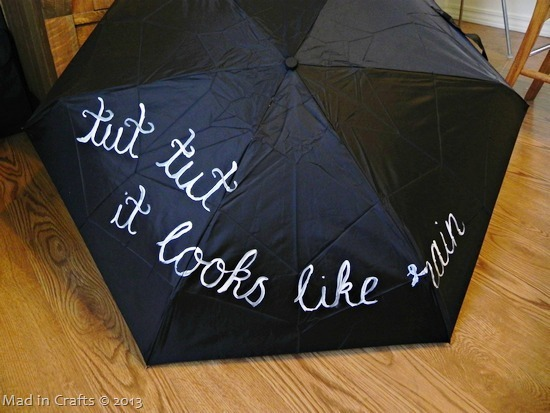 hand paint the quote on umbrella