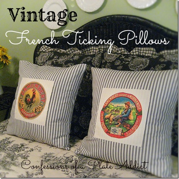 CONFESSIONS OF A PLATE ADDICT Vintage French Ticking Pillows