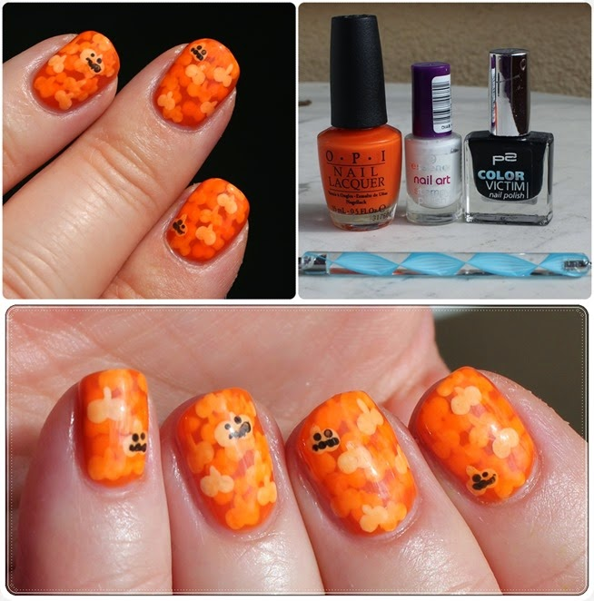 Pumpkin Halloween Nail Art Design