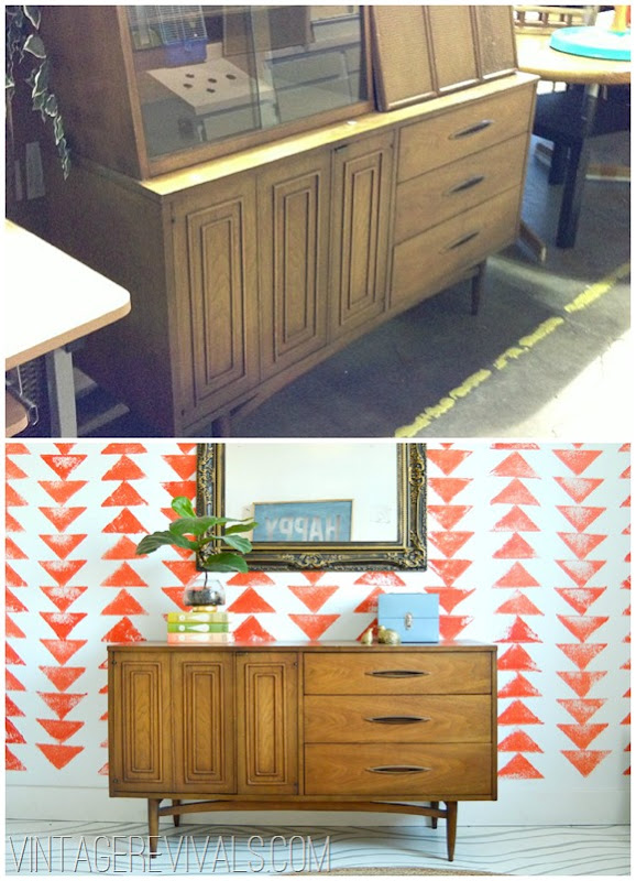 Thrifted Mid Century Dresser Before and After