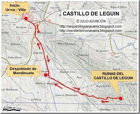 MAPA RUTA AL CASTILLO DE LEGUIN - Valle de Izagaondoa