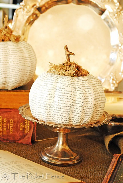 How to make a Dollar Store Book Page Pumpkin