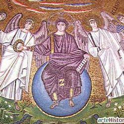 38 - Mosaico donde Cristo efebo entrega la corona a San Vital , en San Vital de Ravena