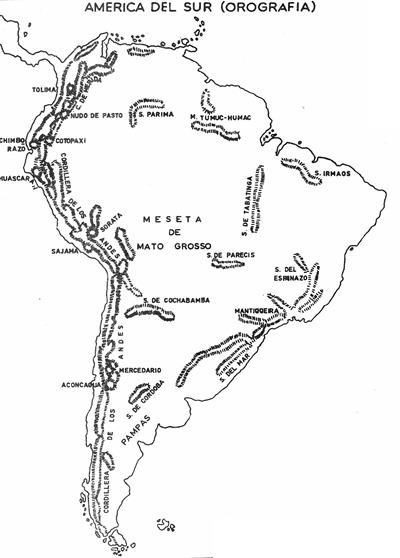 Mapa de la orografía de Améric del Sur