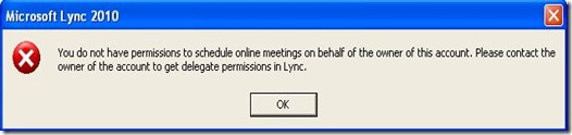 Lync Delegate - Outlook error