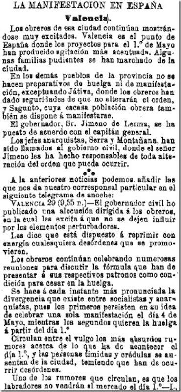 1890-04-30 - La Iberia - 01 (Preparativos del 1º de Mayo - Valencia)