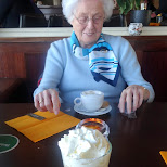 having desert with my grandma at the Kop van de Haven in IJmuiden in IJmuiden, Noord Holland, Netherlands