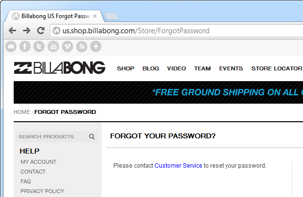 Passwword reset requiring contacting customer service