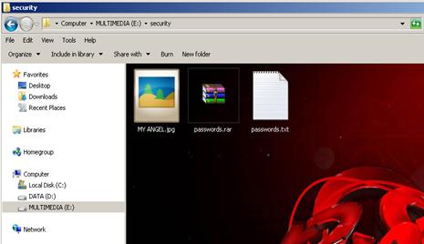 Hide file via CMD and WinRAR 1