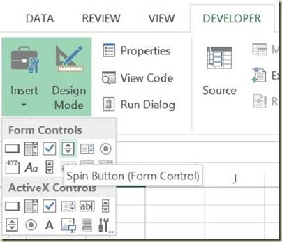 Form Controls in Excel - Select Spin Button