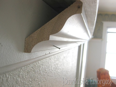 Building a Crown Molding Shelf {Sawdust & Embryos}