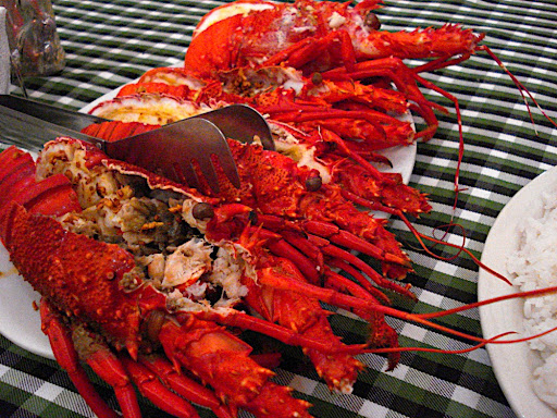 Fresh steamed lobster at Batanes Resort. All this for $15! - Batanes
