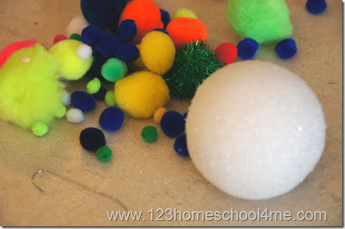 Pom Pom Christmas Ornament supplies