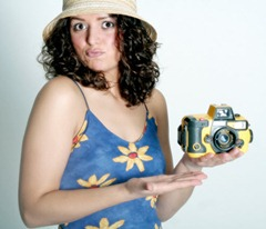woman selling camera