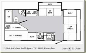 2008 R-Vision Trail-Sport TS23FDS floorplan