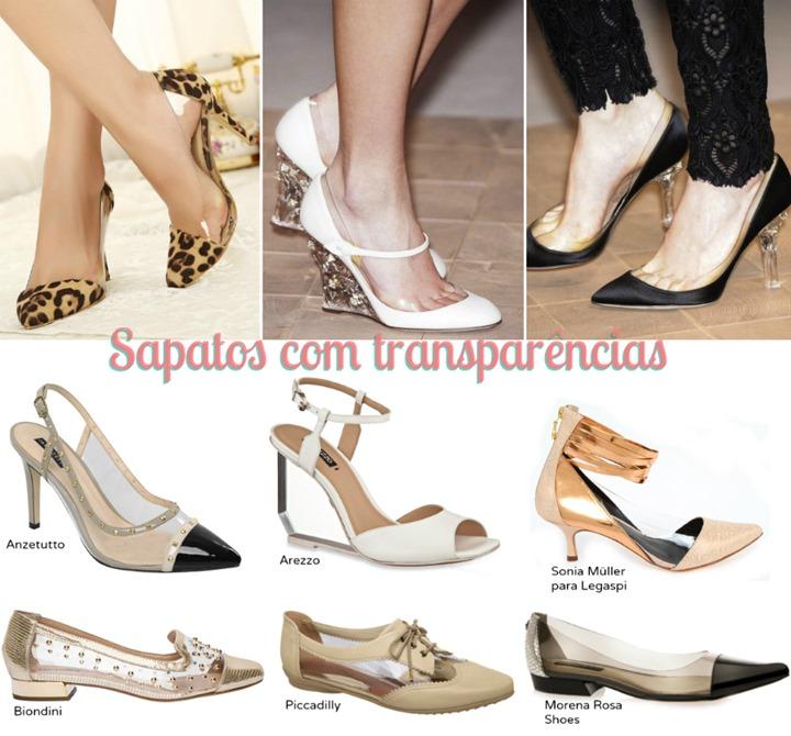 sapatos com transparencias