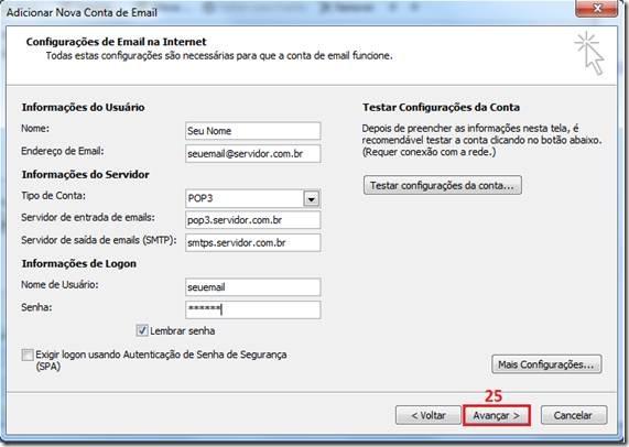Como configurar conta de email no outlook 2007 ?