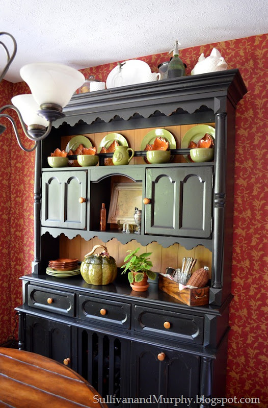 fall decorated hutch