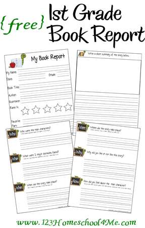homeschool free printable 1st grade book report