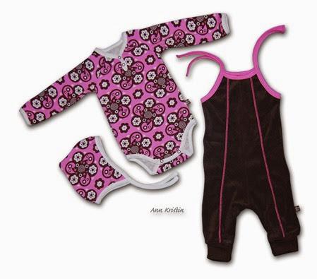 Barselsett brun rosa body bukse 68 lue 42