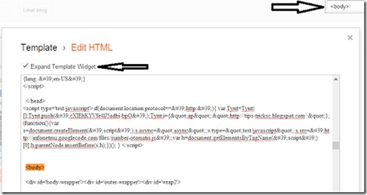 halaman edit HTML blog blogger