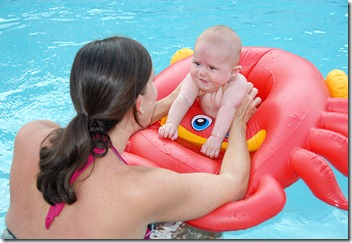 E and Justin in the pool