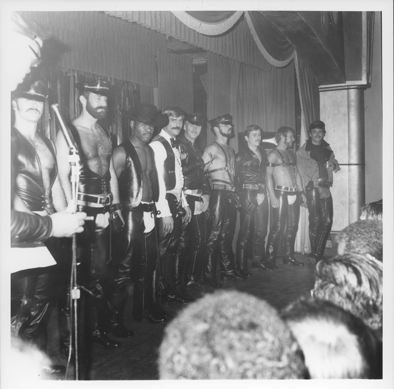Line-up at the Leather Sabbat Halloween Party. 1975.