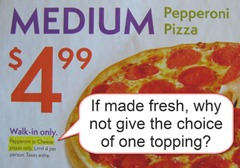 no toppings for the price of one