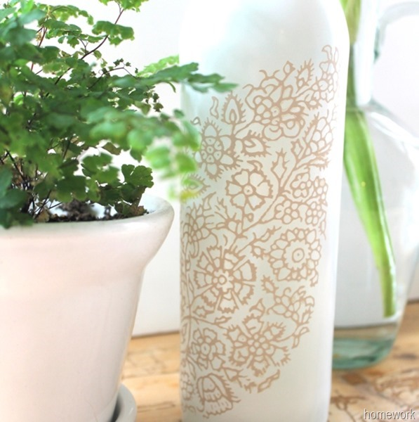 White & Ecru Lace Stenciled Bottle via homework (8)