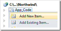 Add New Item to AppCode folder of your web application.