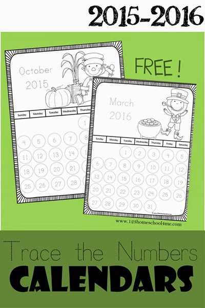 June Calendar Numbers For Preschool : Trace the numbers calendar free