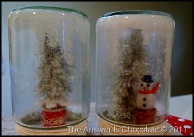 Snowman and Flocked Tree Jars