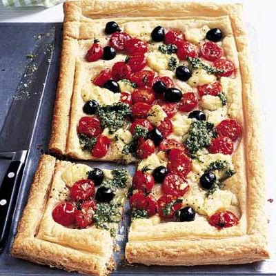 Cheese, Tomato & Pesto Tart
