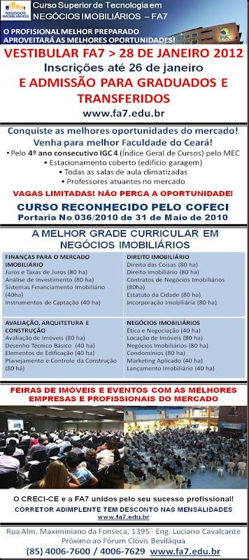 Negocios Imobiiarios FA7 Vestibular jan 2012