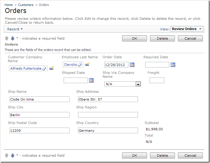Committed order values can be changed on the 'Orders' page.