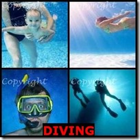 DIVING- 4 Pics 1 Word Answers 3 Letters
