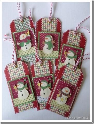 retro snowman tags