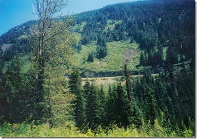View of Highway 2 from near Milepost 1712 on the Iron Goat Trail in 2000