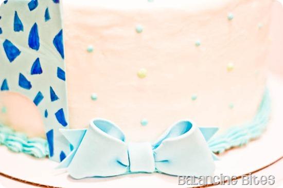 Giraffe Baby Shower Cake bow--Balancing Bites