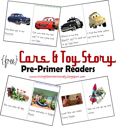 Disney - free sight word readers for preschoolers based on Cars and Toy STory #disney #sightwords