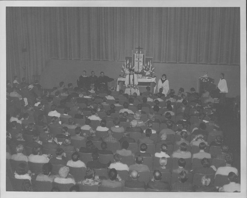 A Sunday morning service of the Metropolitan Community Church (MCC) at the Encore Theater in Hollywood. 1970.