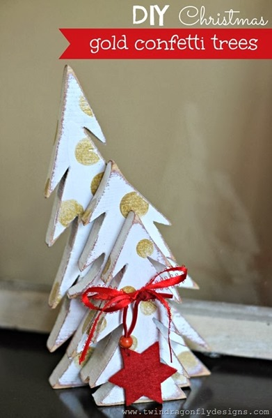 Gold Confetti Trees by Twin Dragonfly Designs
