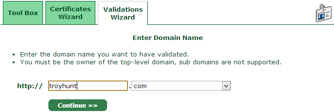 Entering the domain name to validate