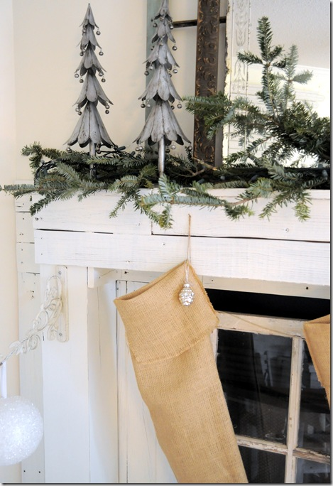 Christmas mantel trees