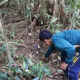 写真6: Jロングハウスの裏手の二次林の中に罠を仕掛けるYN氏。(撮影:市川 哲)