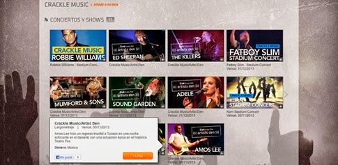 Crackle - ver conciertos completos gratis