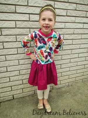 PDF Sewing Patterns for Girls. A review of the Drop Waist Diva dress. Pattern by Little Lizard King. Sewn by Daydream Believers Designs. This is a great drop waist, knit bodice dress with loads of options!