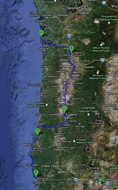 return trip map 450 miles